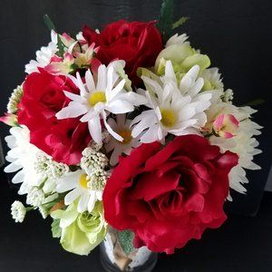 Artificial Red Rose and Daisy Bouquet